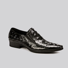 QYFCIOUFU Fashion Designer Mens Office Shoes Oxford Genuine Leather Shoe Formal High Quality Crocodile Pattern Pointy Dress Shoe