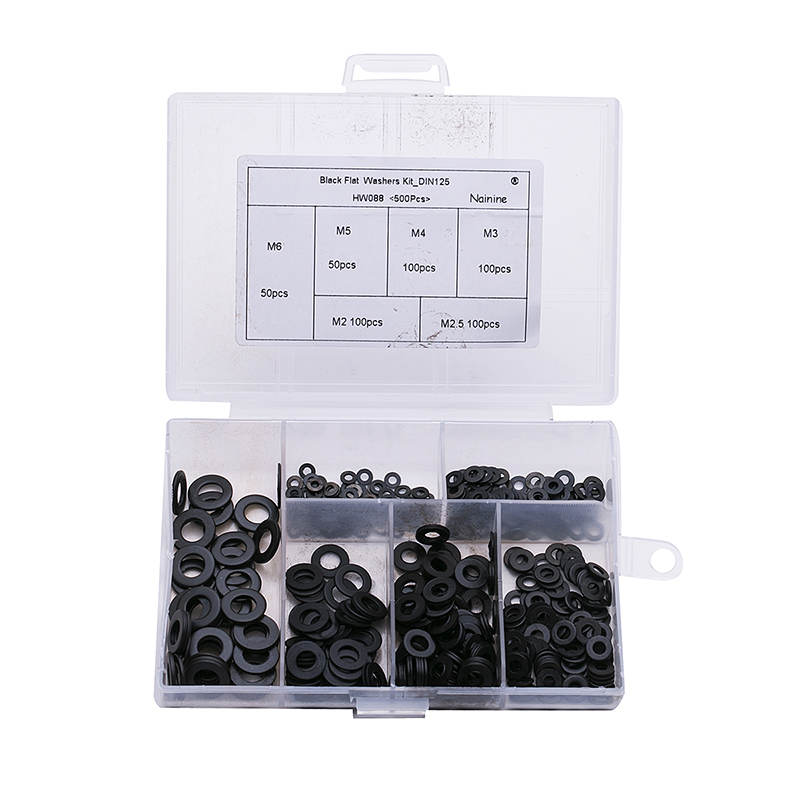 500Pcs DIN125 ISO7089 M2 M2.5 M3 M4 M5 M6 M8 Carbon Steel Flat Machine Washer Plain Black Washer Furniture Gaskets HW088
