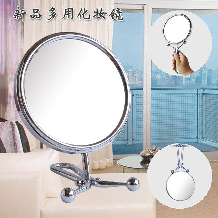 SpringQuan 6 inch 15cm desktop makeup mirror Handle 2-Face metal bathroom mirror 3X magnifying Hanging wall mirror