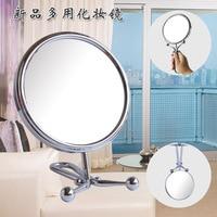 SpringQuan 6 inch 15cm desktop makeup mirror Handle 2 Face metal bathroom mirror 3X magnifying Hanging wall mirror