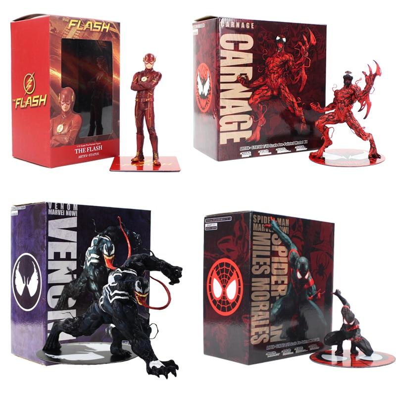 Фигурки героев мультфильма ARTFX Justice League The Flash Carnage Venom Black Spiderman Miles Morales, подарок для детей Игровые фигурки и трансформеры      АлиЭкспресс