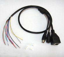 10X CCTV IP network Camera PCB Module video power audio cable, with RCA audio RJ45 female & DC male connectors with Terminlas