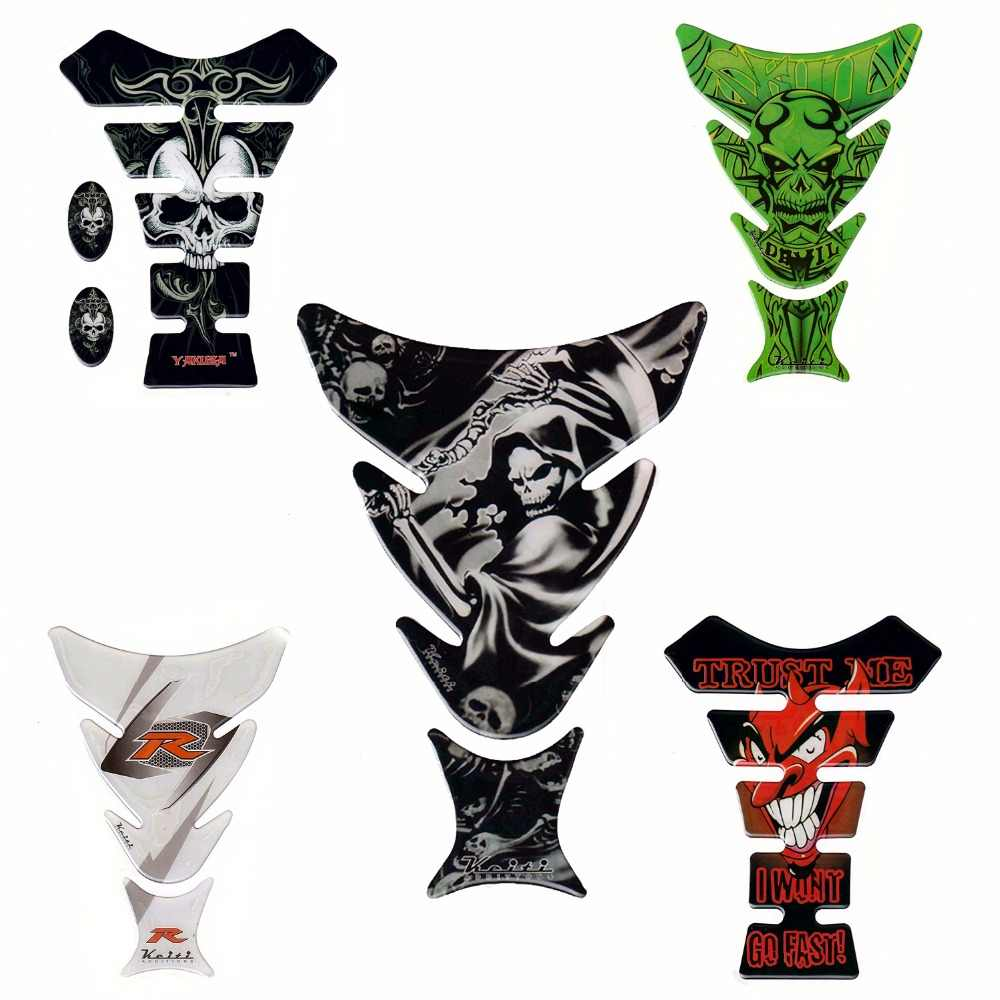Funny cool 3d 5d motorcycle decal gas oil fuel tank pad protector skull racing car sticker