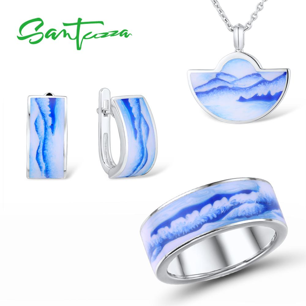 SANTUZZA Silver Jewelry Set for Women Pure 925 Sterling Silver Blue Mountain Sea Earrings Pendant Ring Set Poetic Fine JewelrySANTUZZA Silver Jewelry Set for Women Pure 925 Sterling Silver Blue Mountain Sea Earrings Pendant Ring Set Poetic Fine Jewelry