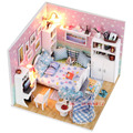 M003 diy handmade wooden dollhouse model led light doll house bedroom free shipping