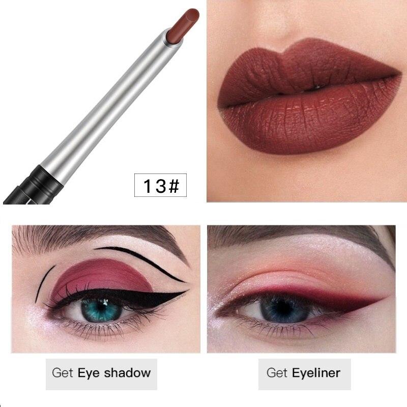 Pudaier Durable Matte Lip Liner Pen Waterproof Easy Color Velvet Lip Liner Maroon Lip Liner Makeup Products TSLM2