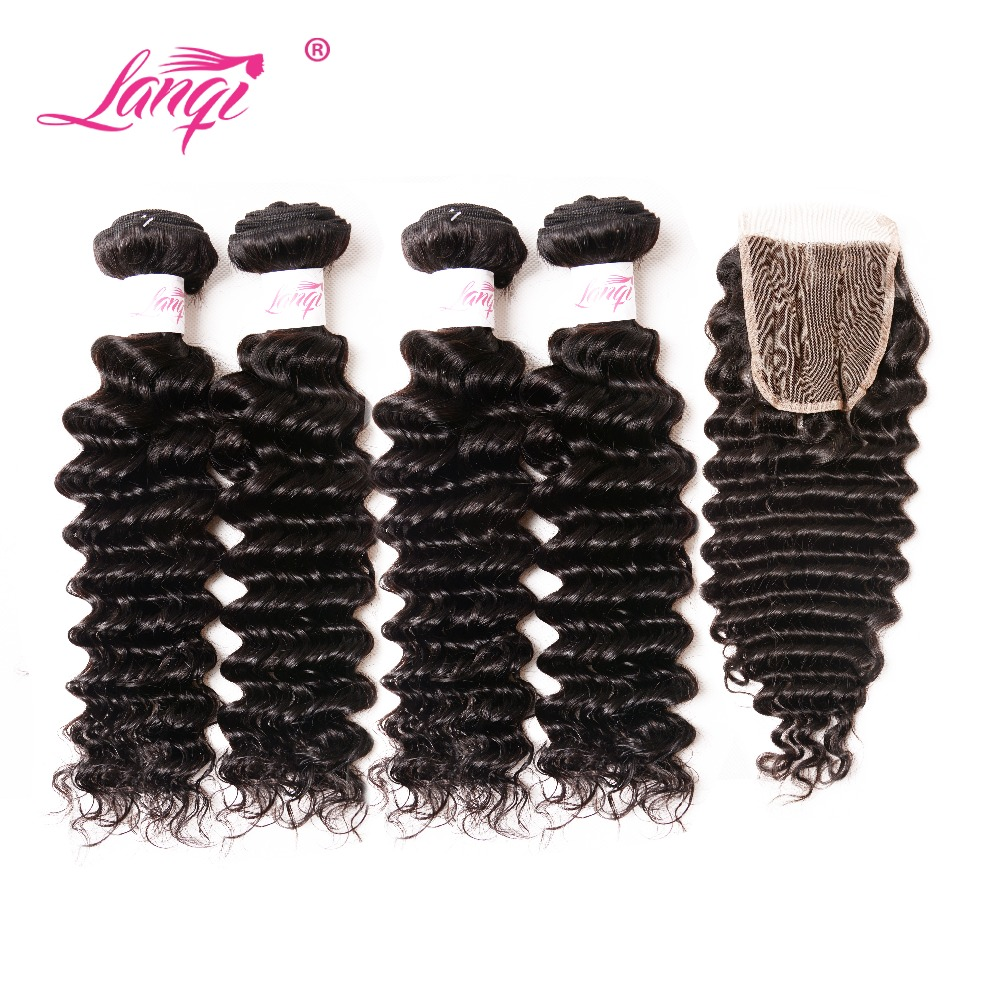 LanQi Brazilian Deep Wave Hair With Closure 4Pcs/Lot Human Hair Weave Weft 4 Bundles With Lace Closure 4x4 Non Remy Extensions