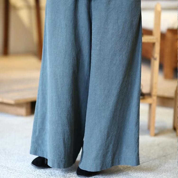 Blu Originale Casual Classico Piedino Del Larghi Cotone Coulisse Vita Lavato Pantaloni Con Allentato Vecchio wOx4wAq6