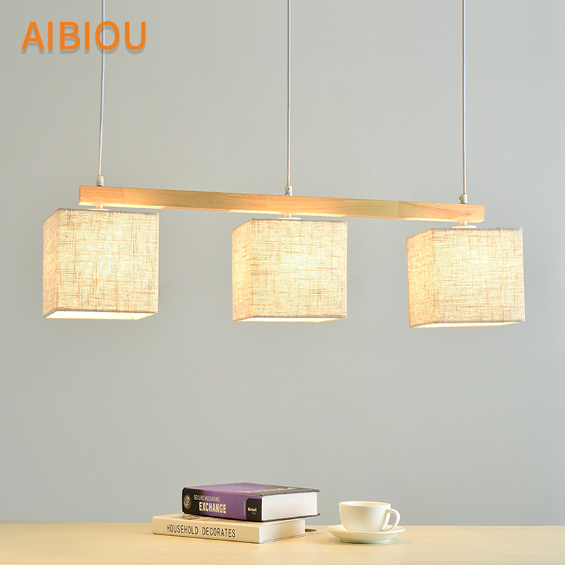 Us 138 6 30 Off Aibiou Anese Style Pendant Lights For Dining Fabric Lamp E27 Hanging Light Kitchen Lighting Fixtures Wooden Lamps In