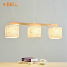 AIBIOU Japanese Style Pendant Lights For Dining  Fabric Pendant Lamp E27 Hanging Light Kitchen Lighting Fixtures Wooden Lamps aibiou wooden 220v led pendant lights for dining wood office pendant lamp nordic hanging light kitchen lighting fixtures