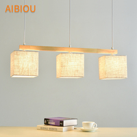 AIBIOU Japanese Style Pendant Lights For Dining Fabric Pendant Lamp E27 Hanging Light Kitchen Lighting Fixtures Wooden Lamps
