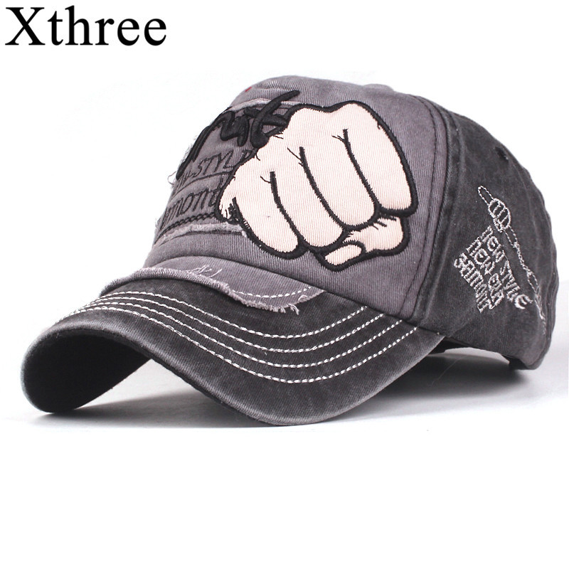 Xthree washed soft cotton   baseball     cap   hat for men women vintage dad hat embroidery casual   cap   new