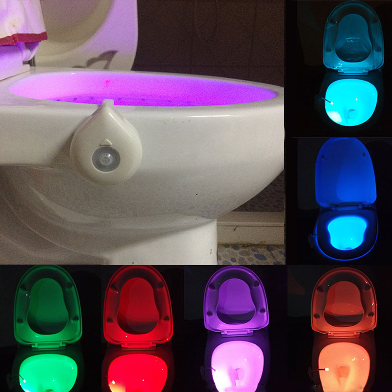 Smart <font><b>Led</b></font> Lamp With the Motion <font><b>Sensor</b></font> Bowl Light Emergency Toilet Night light <font><b>WC</b></font> Bathroom Light 8 Color Human Induction Lamp