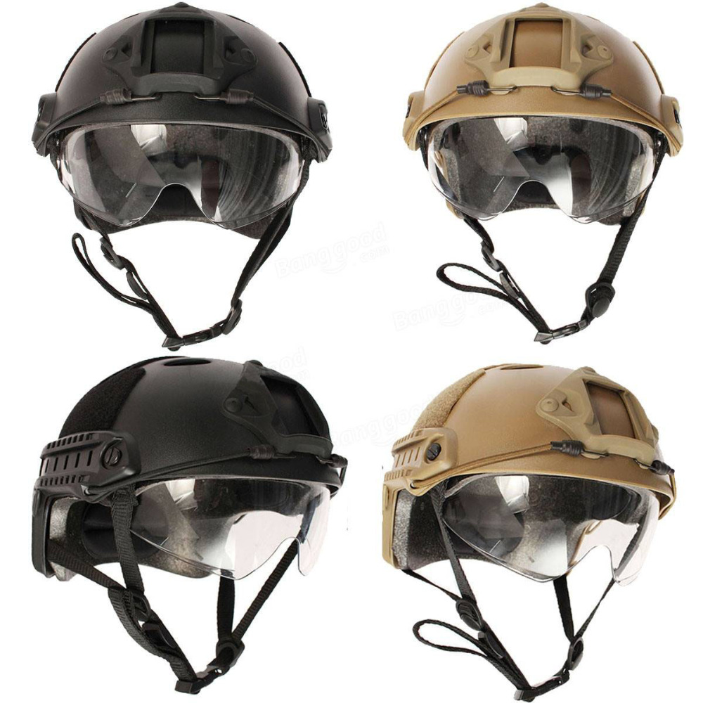 Tactical Army Military Helmet With Protective Goggle Airsoft Safety Helmet Accessories Paintball Fast Jumping Protective|helmet accessories - title=