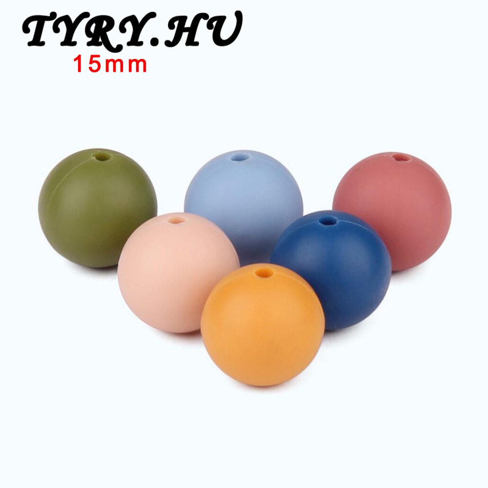 50pc Food Grade Silicone Teethers 15mm Beads DIY Necklaces Baby Bracelets Babies Chewing Jewelry Teeth Necklace Mix Colors Beads