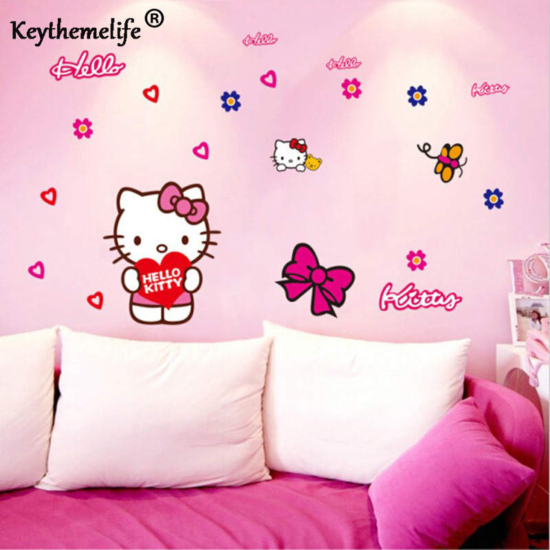 Hello Kitty Home Decor: Keythemelife Cartoon PVC Removable Kids Wall Sticker Rooms