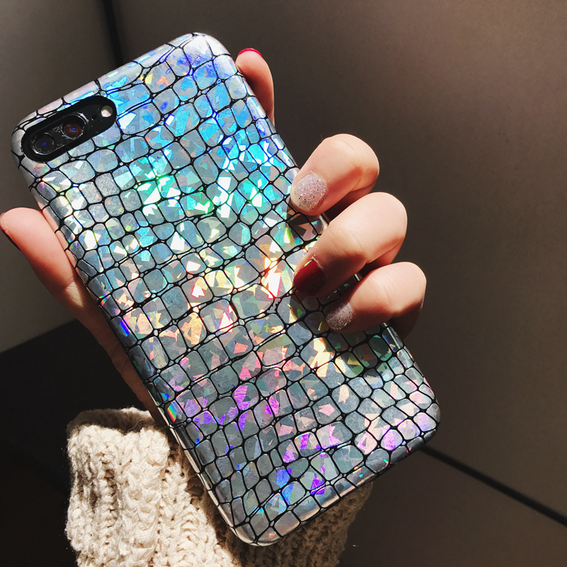 Glitter Snake texture Phone Cases For Apple iPhone 6 6S 7 7Plus Case Fashion Soft PU Leather Back Cover Mobile Phone Bags