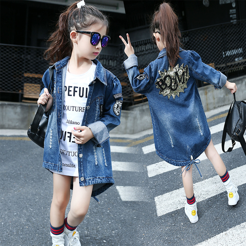 Girls Denim Jacket Fashion Autumn Children Hole Outerwear & Coat Girl Princess Long-Sleeve Trench Design Jackets Age 6-13 T купить дешево онлайн