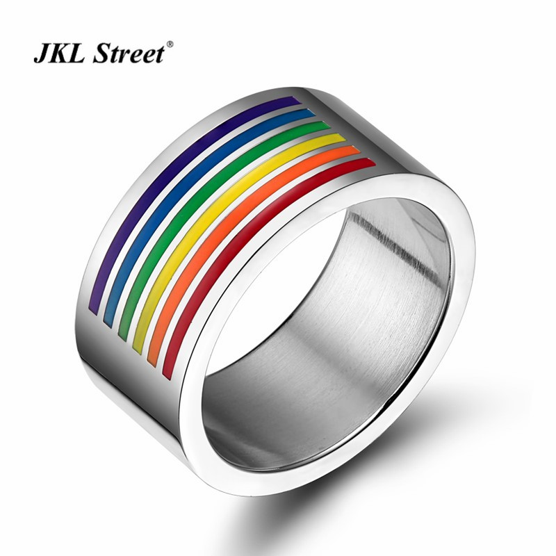 The Love for Gay Rainbow Half Plated Ring Polishing Inner Stainless Steel Gay Pride Parade Rings LGBT Rings SIZE 5~12 PR-1006