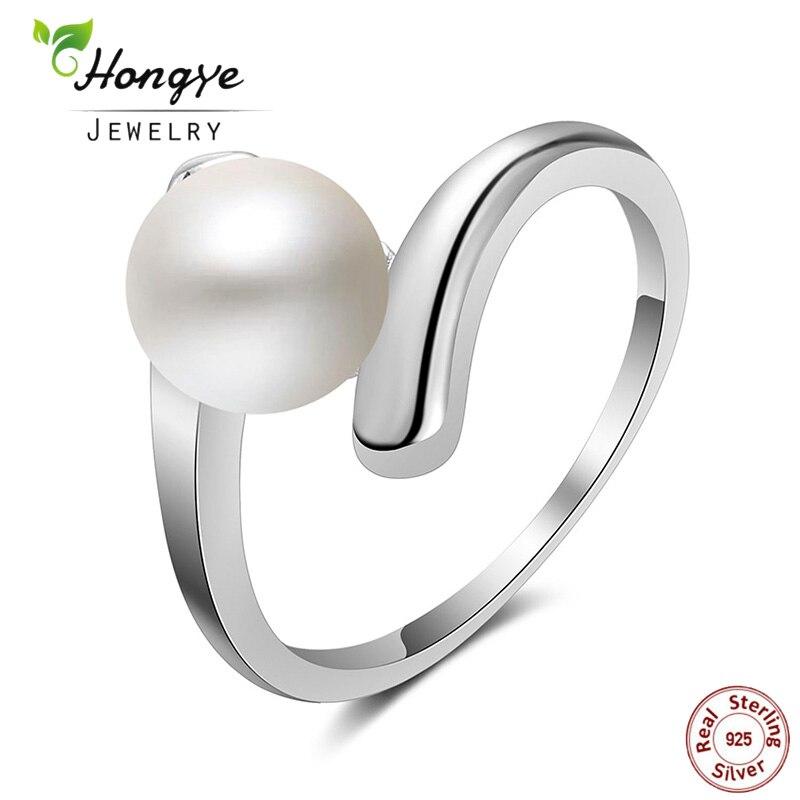 Hongye haute qualité 925 en argent Sterling anneaux naturel perle d'eau douce bagues nouveau bijoux de mode pour les femmes cadeaux de mariage
