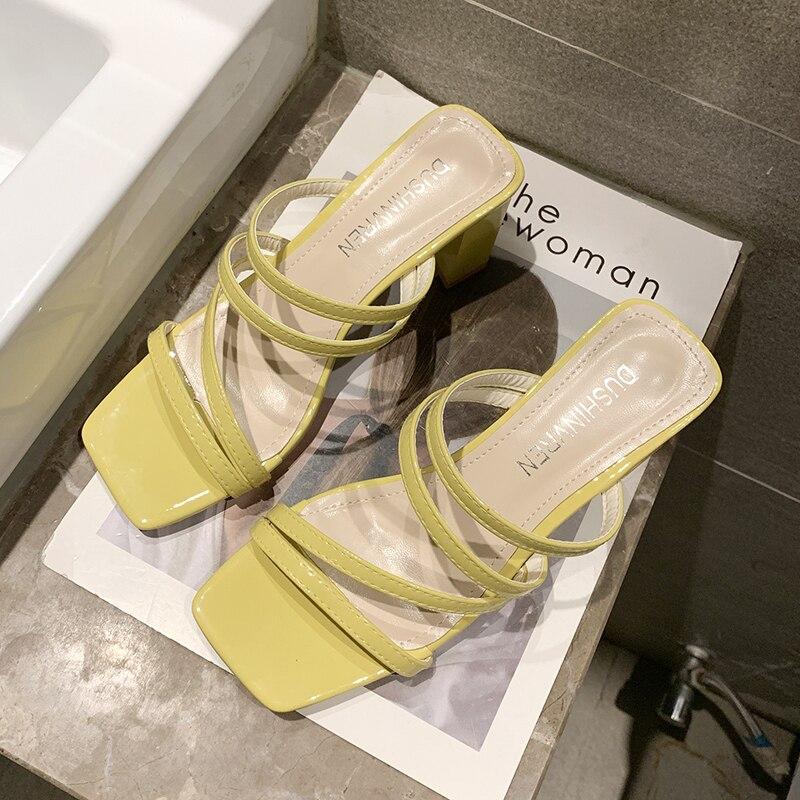 White Sandals Women High Heels slipper Women Classics Strap Slippers Women Shoes 2019 Summer Soft Slip On Slippers Yellow Sandal in Slippers from Shoes