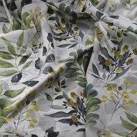 100%綿幅250センチ布白緑の葉と黄色果物ストライプ薄い生地用diy夏寝具ホームテキスタイル