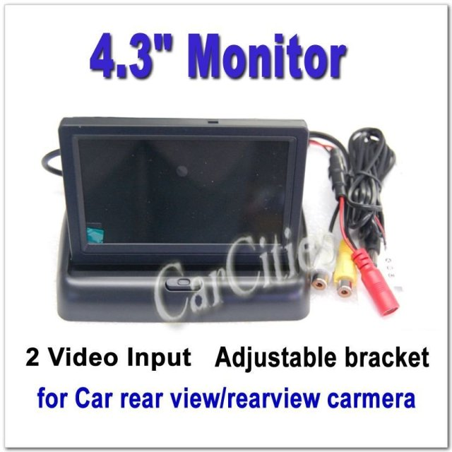 "4.3"" 2CH inch monitor foldable LCD for Car rear view / rearview carmera Monitor Color camera DVD VCR CCTV Drop Shipping"