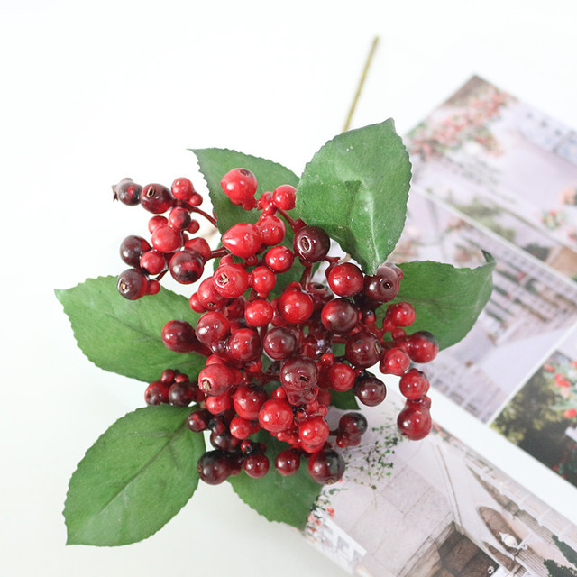 Flone Artificial Christmas Small Berries Simulation Red Fruit