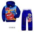 2016 повседневная мальчики одежда наборы зима с длинными рукавами Автомобиль детская одежда устанавливает мальчики хлопок молнии толстовки + брюки 2 шт. набор костюм