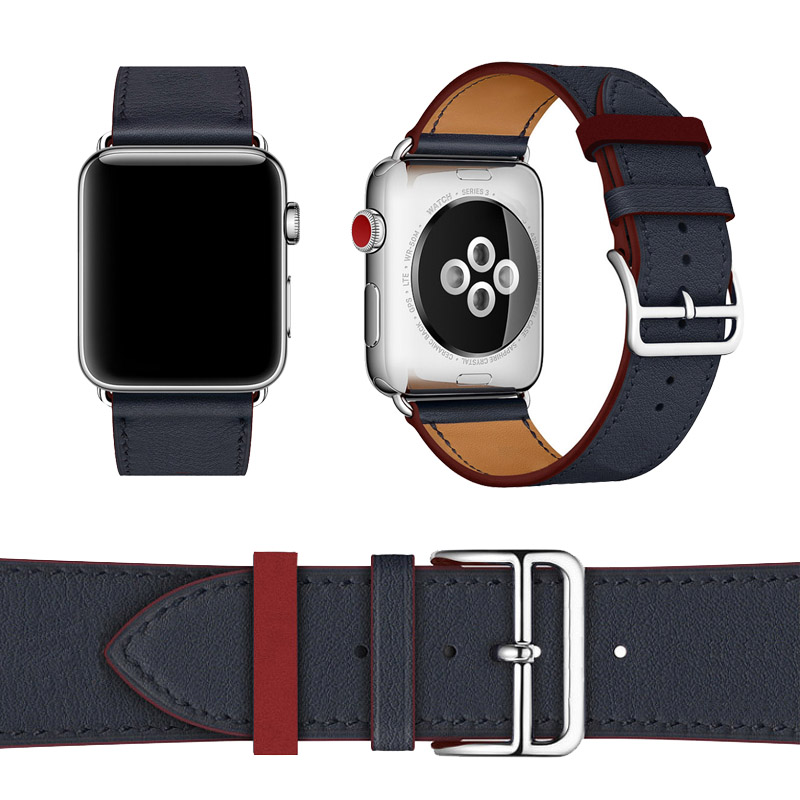 38mm 42mm Leather Band For Apple Watch Bracelet Double Circle Watchbands Genuine Leather Wrist Strap For Apple Series iWatch leather double buckle cuff band for apple watch 38mm 42mm strap bracelet