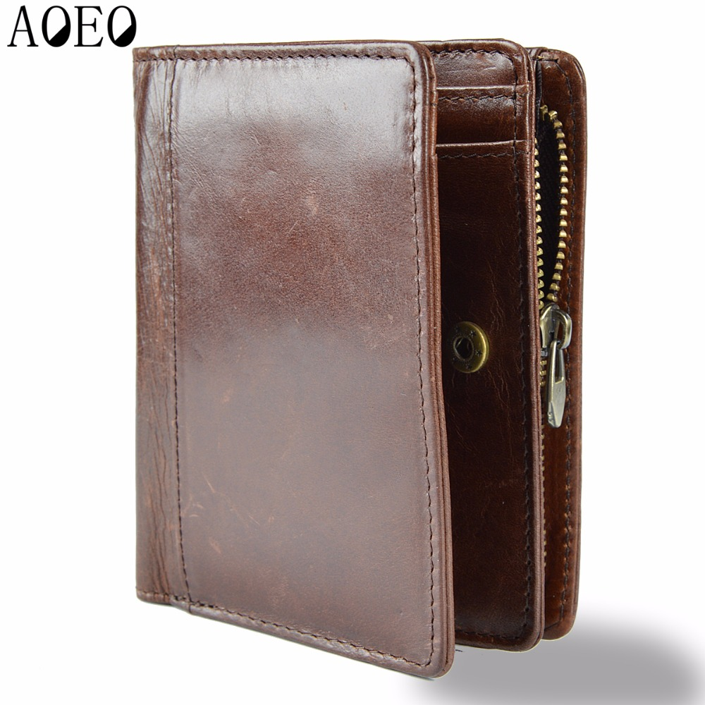 AOEO Genuine Leather Men Wallets Short Coin Purse Small Vintage Wallet Cowhide Leather Card Holder Pocket Purse Men Wallets Mini dalfr genuine leather mens wallets card holder male short wallet 6 inch cowhide vintage style coin purse small wallet