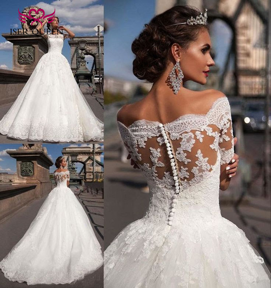 Short Sleeve Dubai Quality Ball Gown Vintage Lace Wedding Dress 2019 Vestido De Novia  Plus Size Appliques Wedding Gown W0334