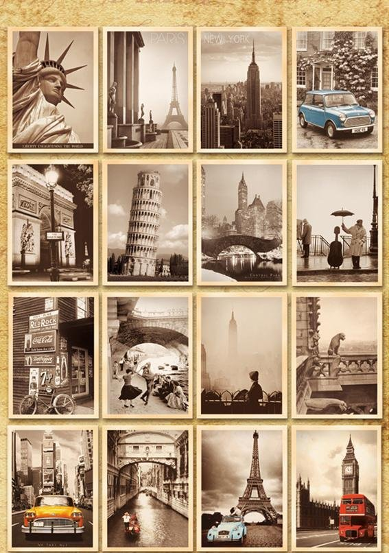 Image 3 - 7packs/lot Students DIY Cards 32Pcs/set NEW Vintage architectural landscape travel card set Postcard set Greeting Card Gift Card-in Business Cards from Office & School Supplies