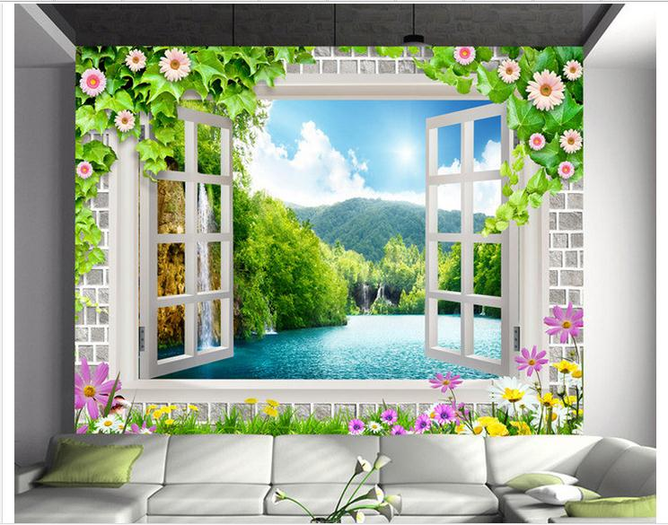 Customized 3d wallpaper 3d tv wall paper murals 3 d window false window lake scenery beauty mural room decoration shinehome sunflower bloom retro wallpaper for 3d rooms walls wallpapers for 3 d living room home wall paper murals mural roll