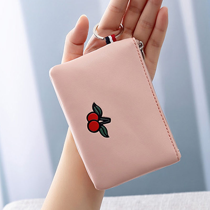 2017 Newest Brand Cute Cherry Women Coin Purse Fresh Delicate Lady Girl Teenager Mini Wallet Card Bags With Key Chain Clutch
