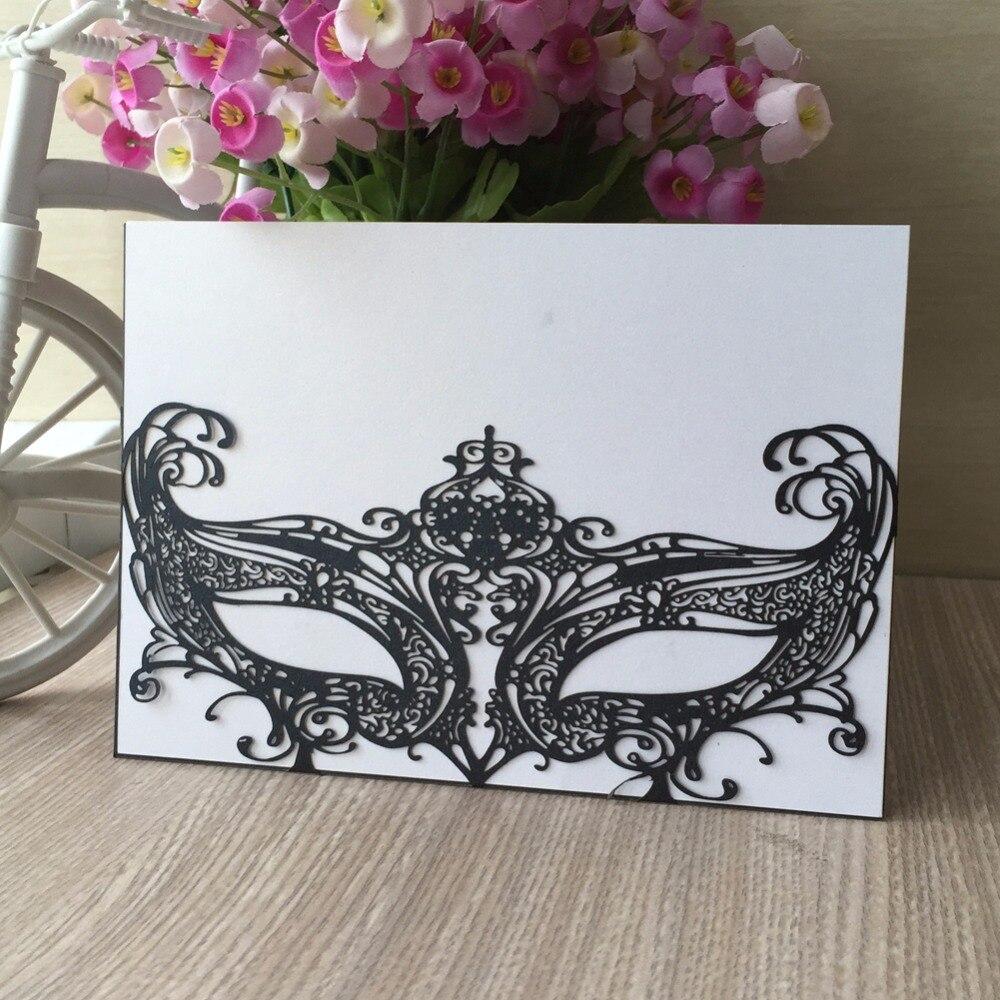 30pcs/Lot Mardi Gras masquerade Mask Wedding Invitation Card Wedding ...