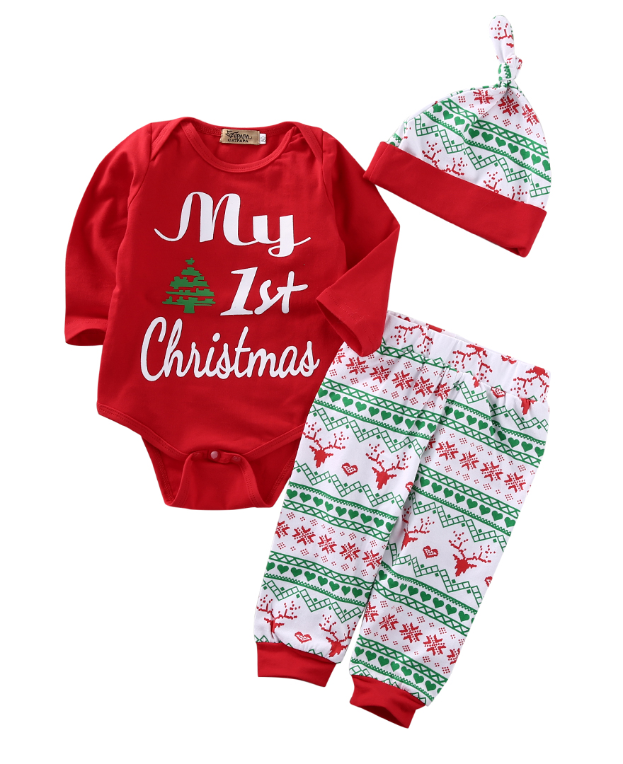 2016 Newborn Baby Boys Girls First Christmas Clothes Romper Pants Hat Outfit Set 3PCS 3pcs set newborn girls christmas clothes set warm hat letter print romper love arrow print pants leisure toddler baby outfit set