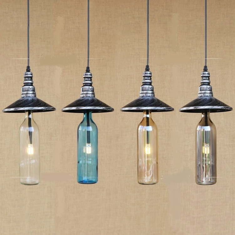 American water bottle pendant lights cafe bar restaurant kitchen personality glass Industrial Corridor pendant lamps ZA GY274 adnart flavour it glass water bottle with fruit infuser
