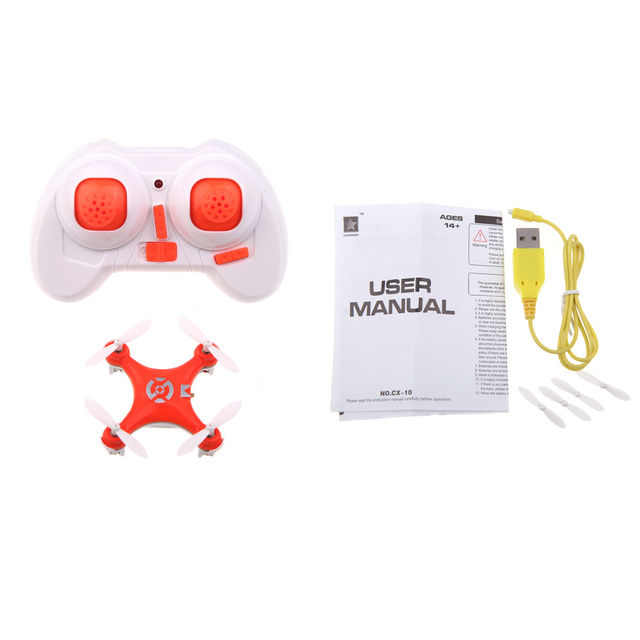 Orange CX-10 Mini 2.4G 4CH 6 Axis LED RC Quadcopter Toy Helicopter with LED Light