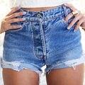 Moda Feminina Sexy Hot Shorts jeans Buraco Verão Shorts Jeans Casuais Calças Jeans de Cintura Alta Curta