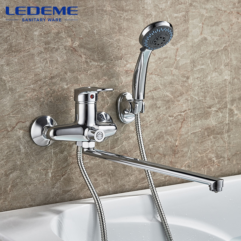 LEDEME 1 set Outlet Pipe Bath Shower faucet Chrome Plated Surface Brass Material Shower Head L2204 диски helo he844 chrome plated r20