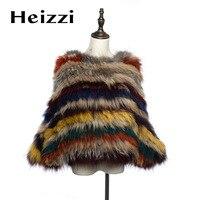 Heizzi вязать трикотажные с натуральным кроличьим мехом пальто натуральной енот Меховая куртка с рукавами «летучая мышь» шаль полосатый Цвет