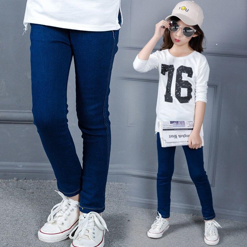 Children Elastic Slim Jeans big Girls Pants Brand Fashion Casual Spring Kids Denim Trousers Children Clothing