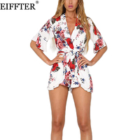 Boho Red Floral Print Ruffles Playsuits Women Elegant Autumn White V Neck Jumpsuits Rompers Sexy Beach