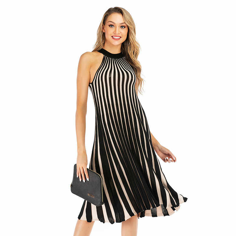 Women Black White Party Dresses 2019 Halter Sleeveless Summer Striped Pleated Dresses Female Elegant Knitted Midi Dress vestido