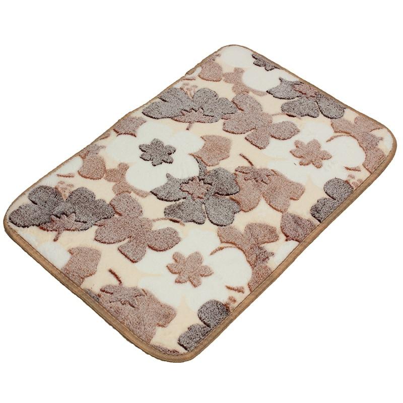new3d flowers microfiber polyester tpu bath mats thicken coral fleece floor bath - Bathroom Mats