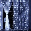 3 m X 3 m 8 Modos de 306 Led de Natal Cortina de Cordas de Fadas Luzes Icicle luzes Da Cortina Para A Festa Ao Ar Livre Da Parede Da Janela de Casa (plug UE)