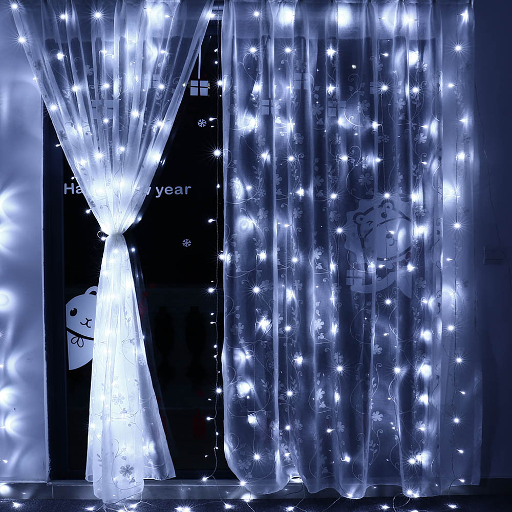3m X 3m 8 Modes 306 Led Christmas Curtain String Fairy lights Curtain Icicle Lights For Party Outdoor Wall Home Window(EU plug)