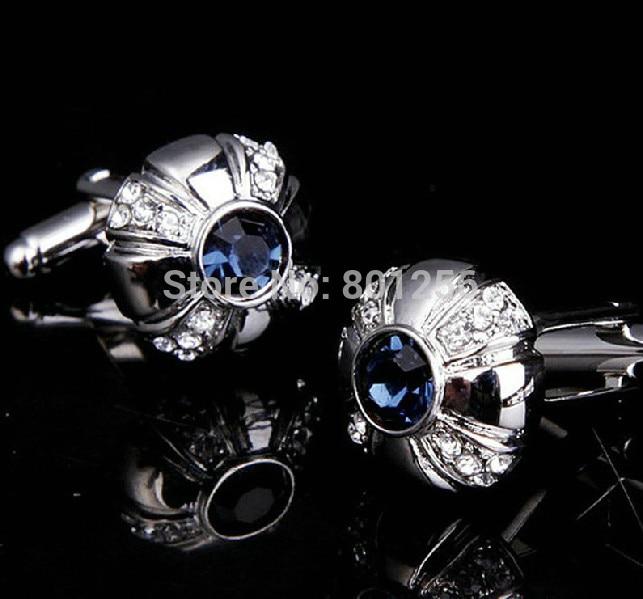 Free shipping Men Rhinestone Cufflinks blue color crystal design hotsale copper material cufflinks whoelsale&retail