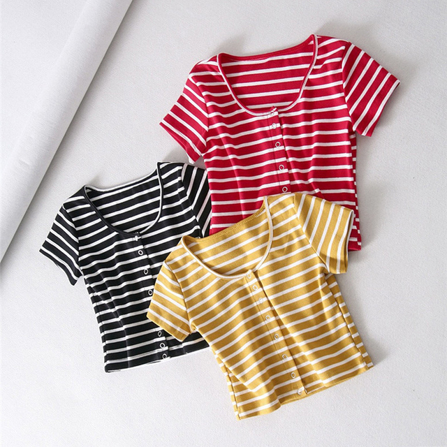 330b51ad7fb Summer Crop Top Sexy Women Casual Buttons Elastic Short Sleeve Cotton T-shirts  Black Red Striped Tops